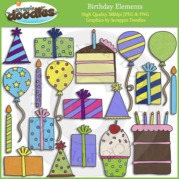 Birthday Elements - Party Clip Art