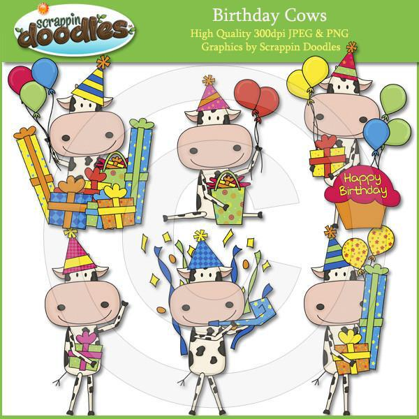 Birthday Cows Clip Art Dowload