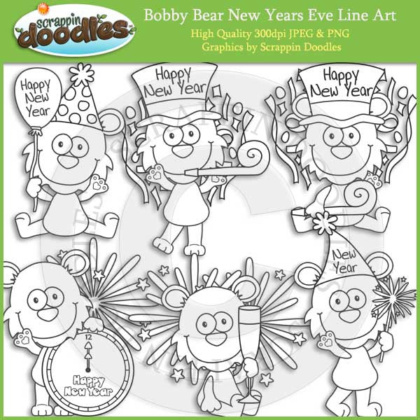 Bobby Bear New Years Eve Clip Art