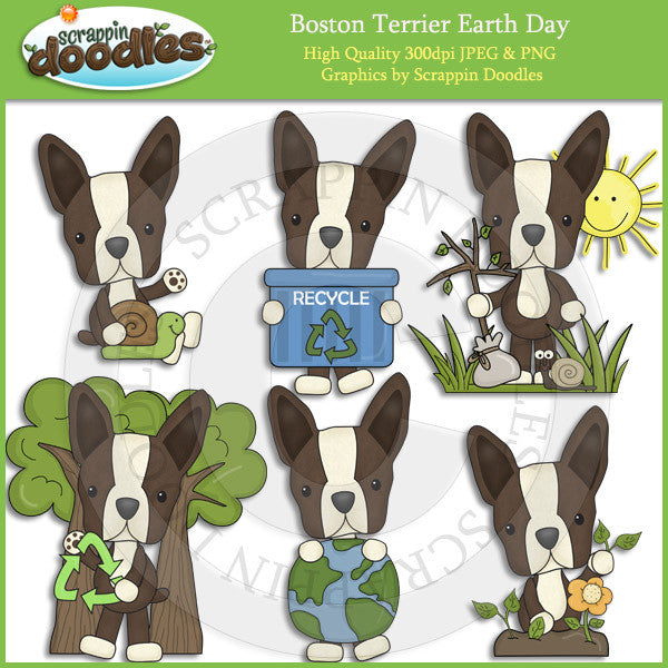 Boston Terriers Love Our Planet Clip Art dog