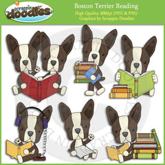 Boston Terriers Love To Read Clip Art