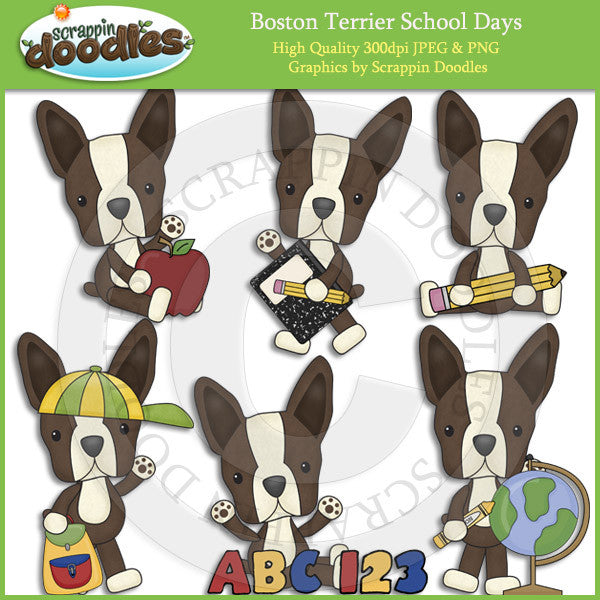 Boston Terrier School Days Clip Art Dog