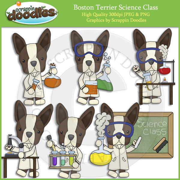 Boston Terriers Love Science Clip Art Dogs