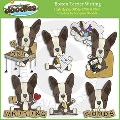 Boston Terriers Love to Write Clip Art Dogs