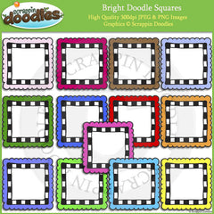 Bright Doodle Frames / Borders Clip Art Bundle