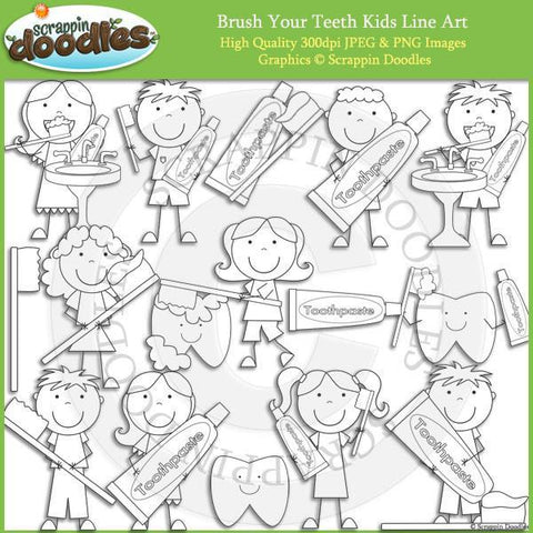 Brush Your Teeth Kids - Hygiene Clip Art