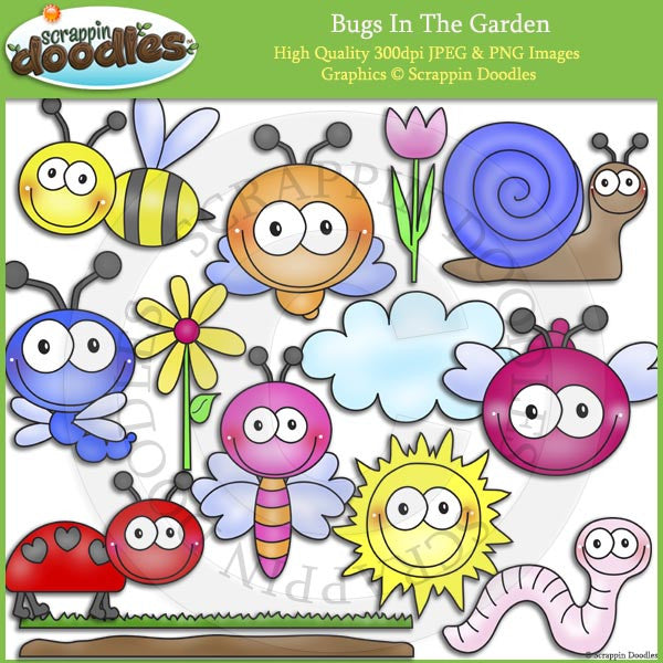 Bugs In The Garden Clip Art