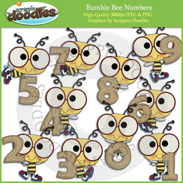 Bumble Bee Numbers Clip Art