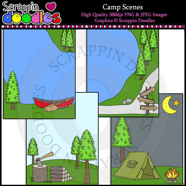 Camp Scenes Clip Art & Line Art Backgrounds