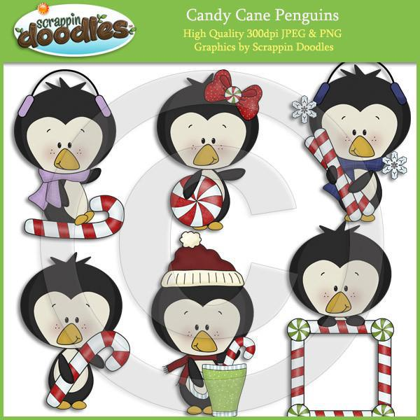 Candy Cane Penguins Clip Art Download