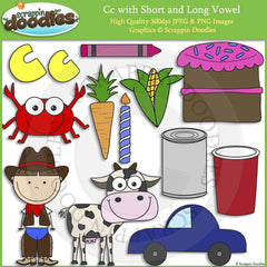 Cc Short and Long Vowel Clip Art and Line Art