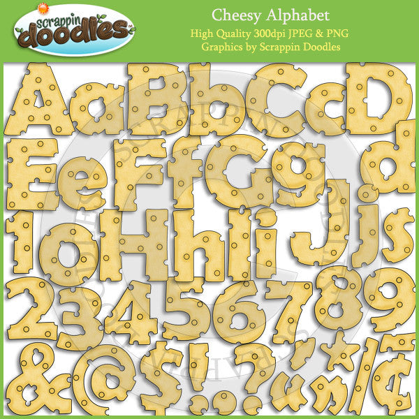 Cheesy Alphabet, Numbers & Punctuation ClipArt Download