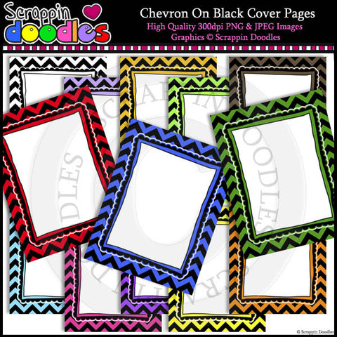 "Chevron on Black 8-1/2""x11"" Ready Pages / Cover Pages"