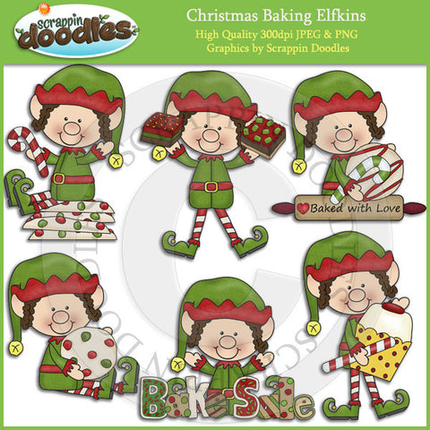 Christmas Baking Elfkins Clip Art Download