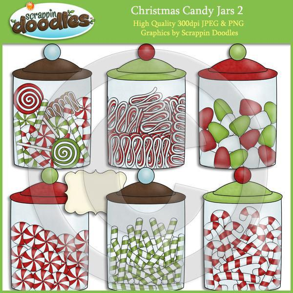 Christmas Candy Jars 2 Clip Art Download