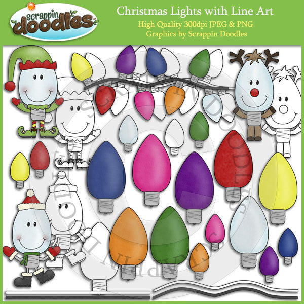 Christmas Lights with Line Art Clip Art Download