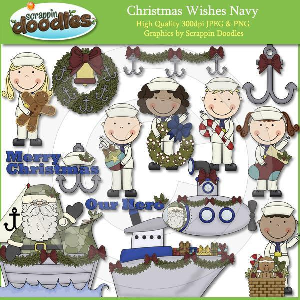 Christmas Wishes Navy Clip Art Download