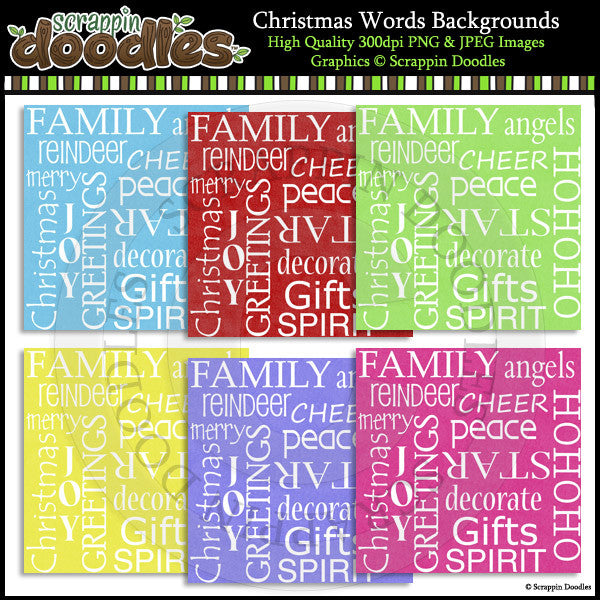 Christmas Words Backgrounds
