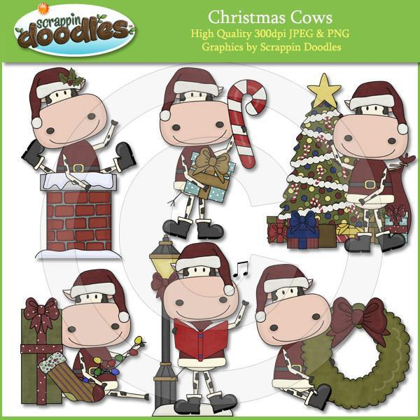 Christmas Cows Clip Art Download