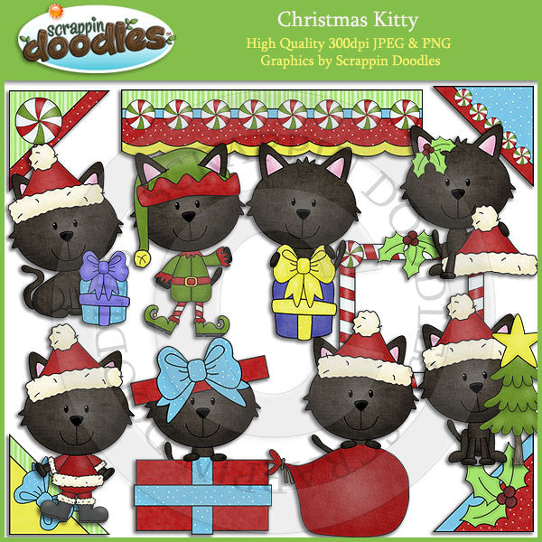 Christmas Kitty Clip Art Download