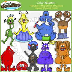 Color Monsters Clip Art