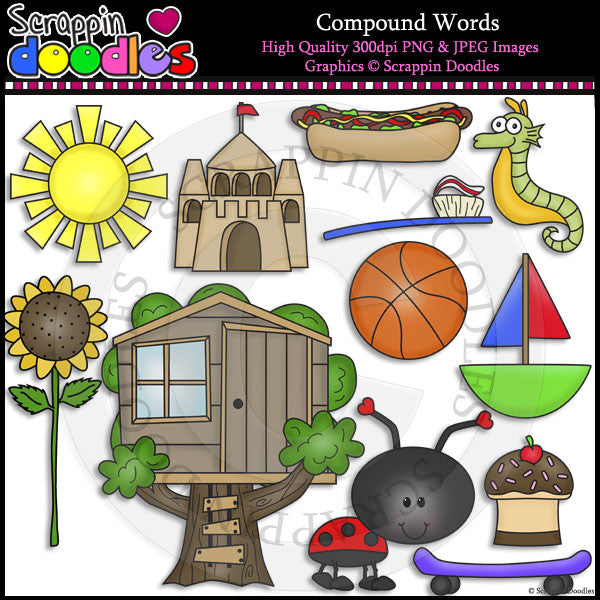 Compound Words Clip Art & Line Art
