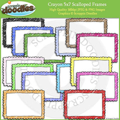 Crayon Colored 5x7 Scalloped Frames / Borders
