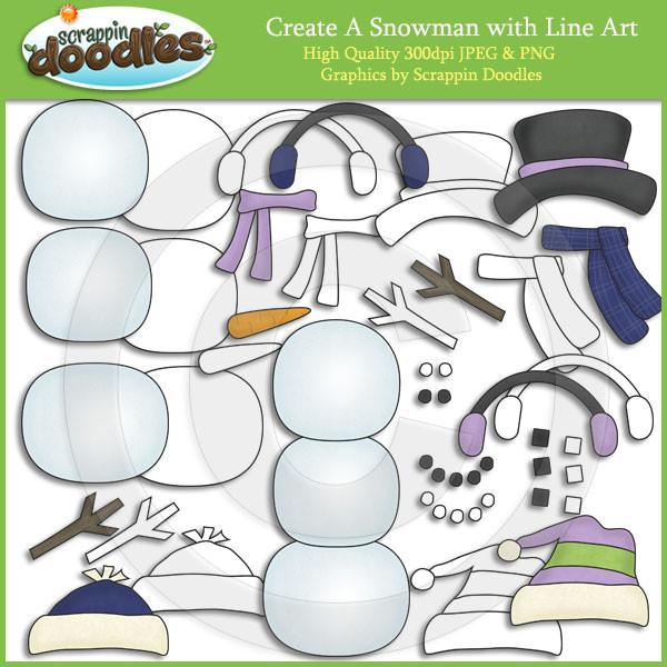 Create A Snowman Clip Art With Line Art Download