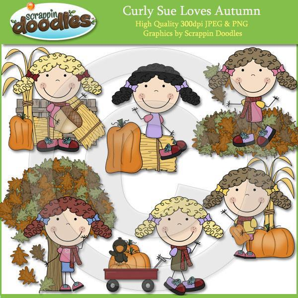 Curly Sue Loves Autumn Clip Art Download