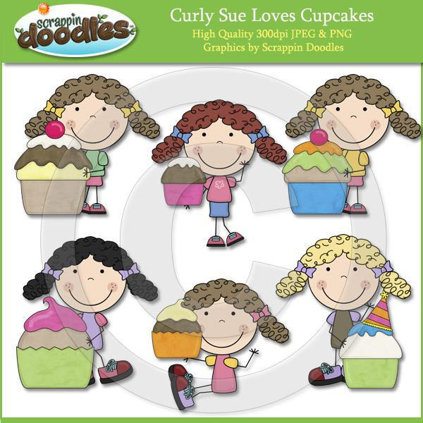 Curly Sue Loves Cupcakes Clip Art Download