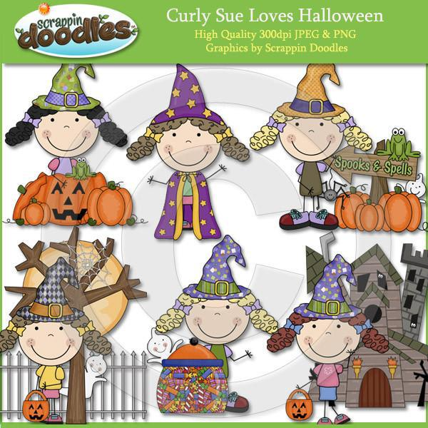 Curly Sue Loves Halloween Clip Art Download