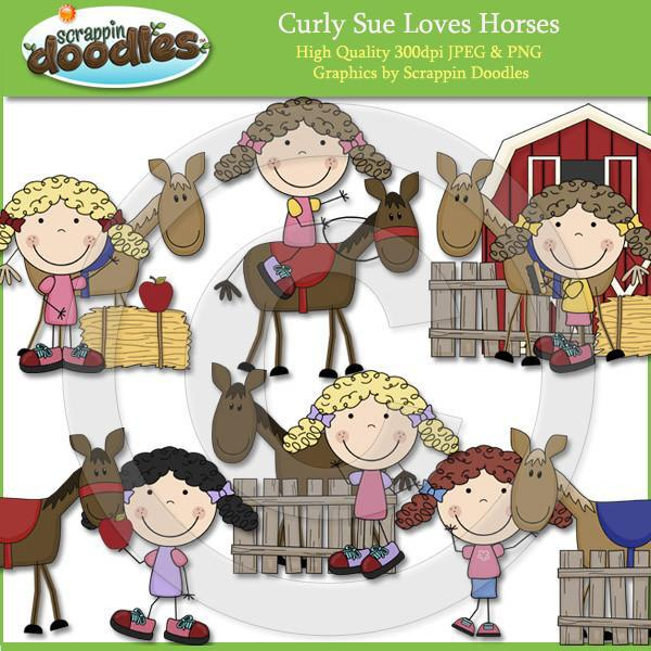 Curly Sue Loves Horses Clip Art Download