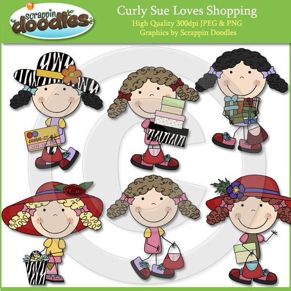 Curly Sue Loves Shopping Clip Art Download