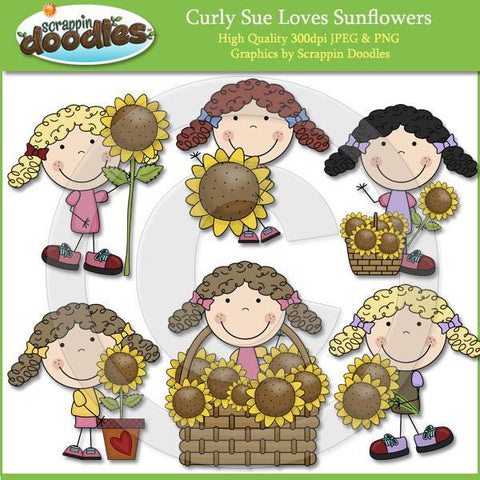 Curly Sue Loves Sunflowers Clip Art Download