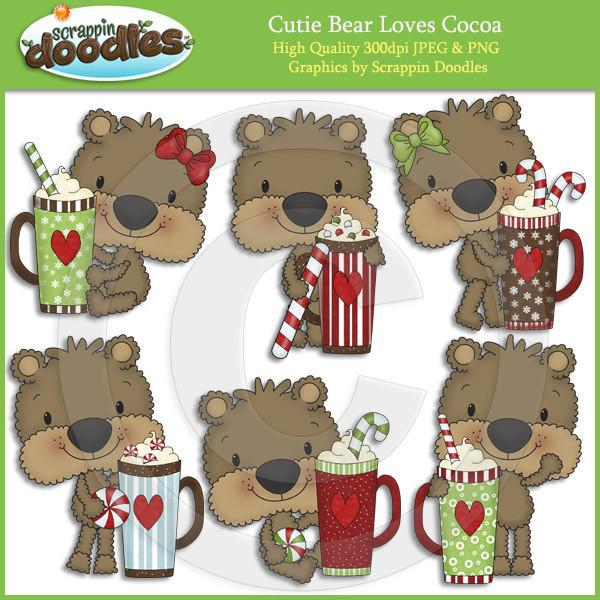 Cutie Bear Loves Cocoa Clip Art Download