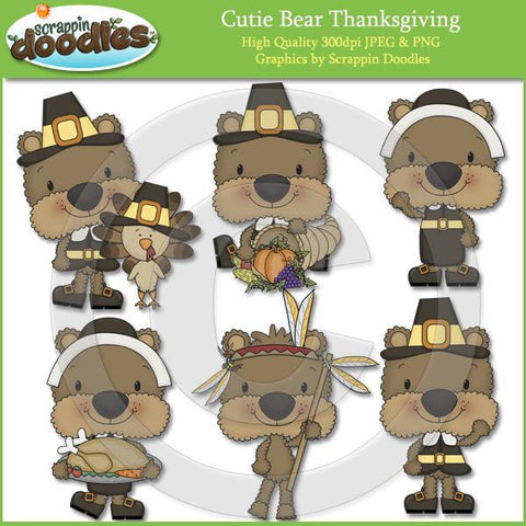 Cutie Bear Thanksgiving Clip Art Download