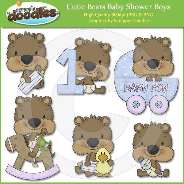 Cutie Bears Baby Shower Boys Clip Art Download