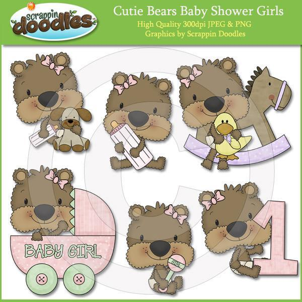 Cutie Bears Baby Shower Girls Clip Art Download