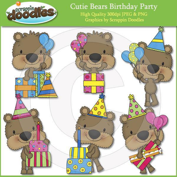 Cutie Bears Birthday Party Clip Art Download