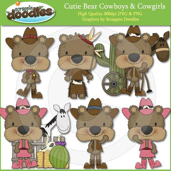 Cutie Bears Cowboys & Cowgirls Clip Art Download