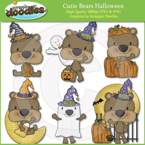 Cutie Bears Halloween Clip Art Download