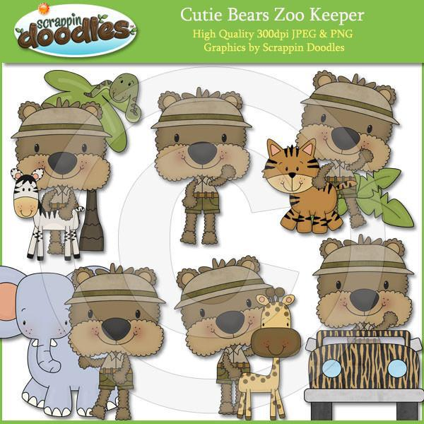 Cutie Bears Zoo Keeper Clip Art Download
