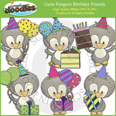Cutie Penguin Birthday Friends Clip Art Download