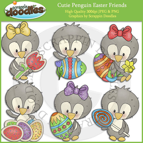 Cutie Penguin Easter Friends Clip Art Download