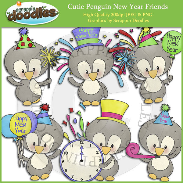 Cutie Penguin New Year Friends Clip Art Download