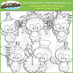 Cutie Penguin New Year Friends