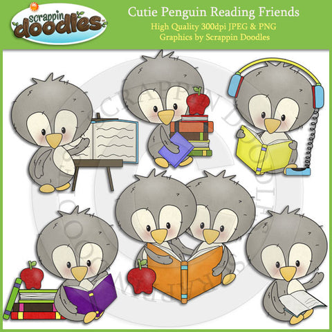 Cutie Penguin Reading Friends Clip Art Download