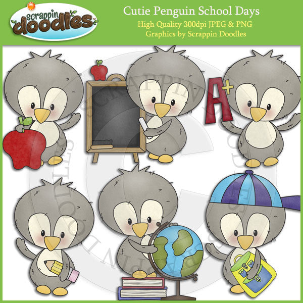 Cutie Penguin School Days Clip Art Download