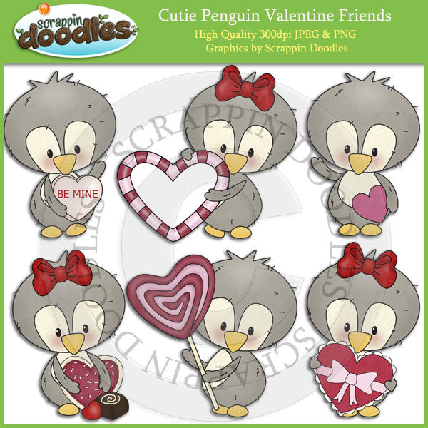 Cutie Penguin Valentine Friends Clip Art Download