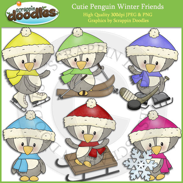Cutie Penguin Winter Friends Clip Art Download